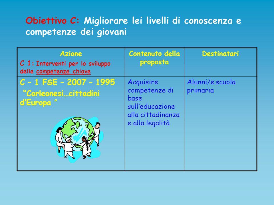 Obiettivo C: Migliorare lei livelli di conoscenza e competenze dei giovani Azione C 1: Interventi per lo sviluppo delle competenze chiave Contenuto de