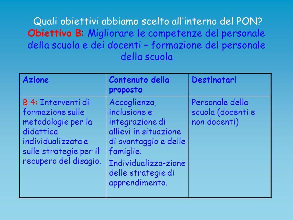 Quali obiettivi abbiamo scelto all'interno del PON? Obiettivo B: Migliorare le competenze del personale della scuola e dei docenti – formazione del pe