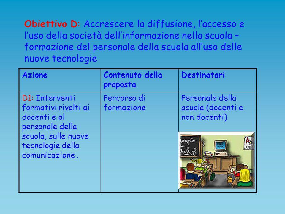 Obiettivo D: Accrescere la diffusione, l'accesso e l'uso della società dell'informazione nella scuola – formazione del personale della scuola all'uso