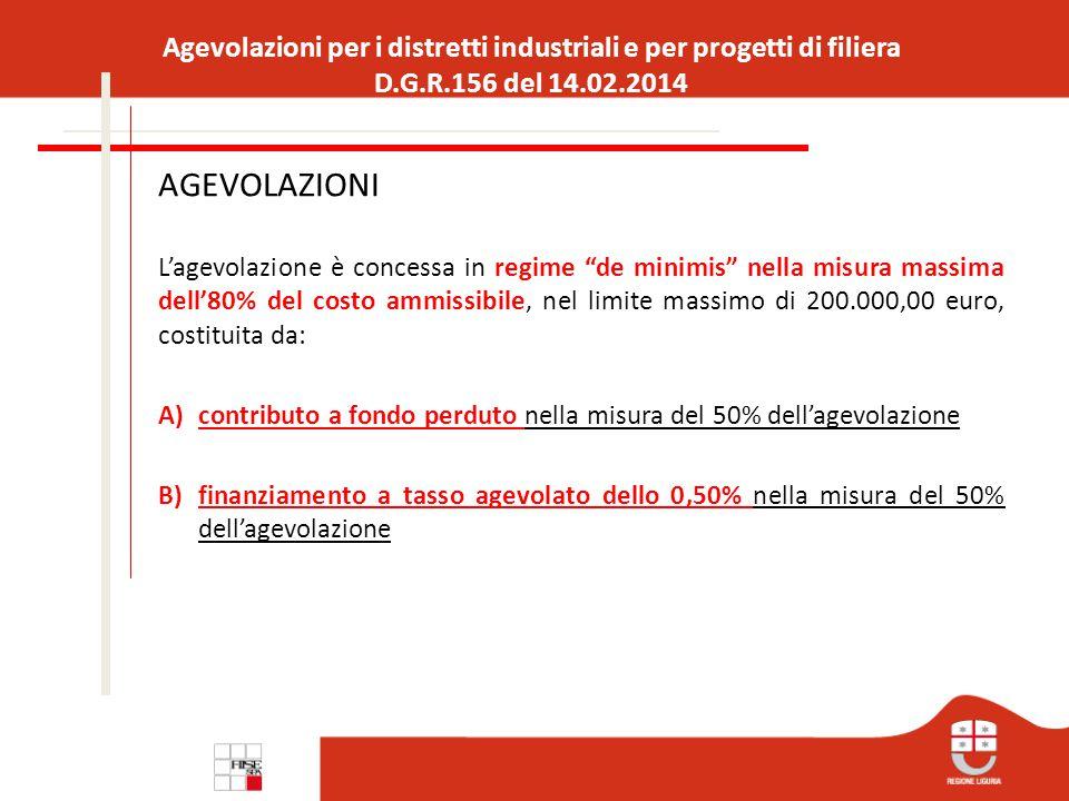 Agevolazioni per i distretti industriali e per progetti di filiera D.G.R.156 del 14.02.2014 AGEVOLAZIONI L'agevolazione è concessa in regime de minimis nella misura massima dell'80% del costo ammissibile, nel limite massimo di 200.000,00 euro, costituita da: A)contributo a fondo perduto nella misura del 50% dell'agevolazione B)finanziamento a tasso agevolato dello 0,50% nella misura del 50% dell'agevolazione