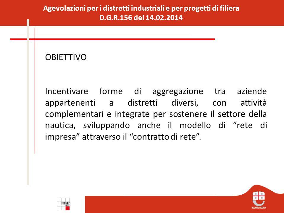 Agevolazioni per i distretti industriali e per progetti di filiera D.G.R.156 del 14.02.2014 SPESE AMMISSIBILI L'importo minimo dell'investimento ammissibile è pari a € 100.000,00.