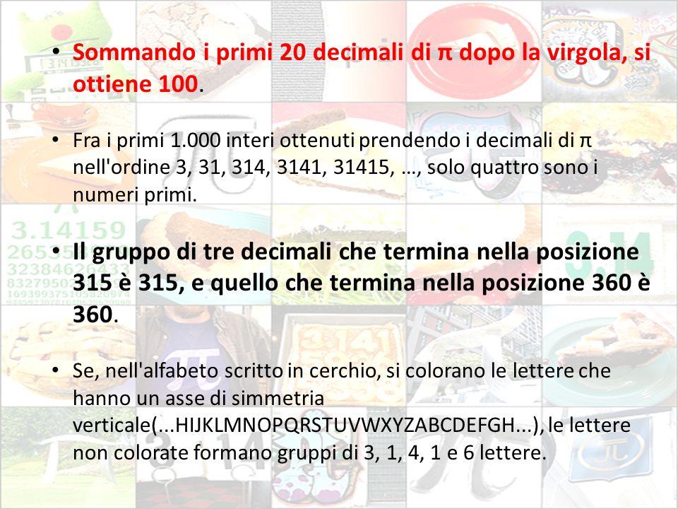 Sommando i primi 20 decimali di π dopo la virgola, si ottiene 100. Fra i primi 1.000 interi ottenuti prendendo i decimali di π nell'ordine 3, 31, 314,