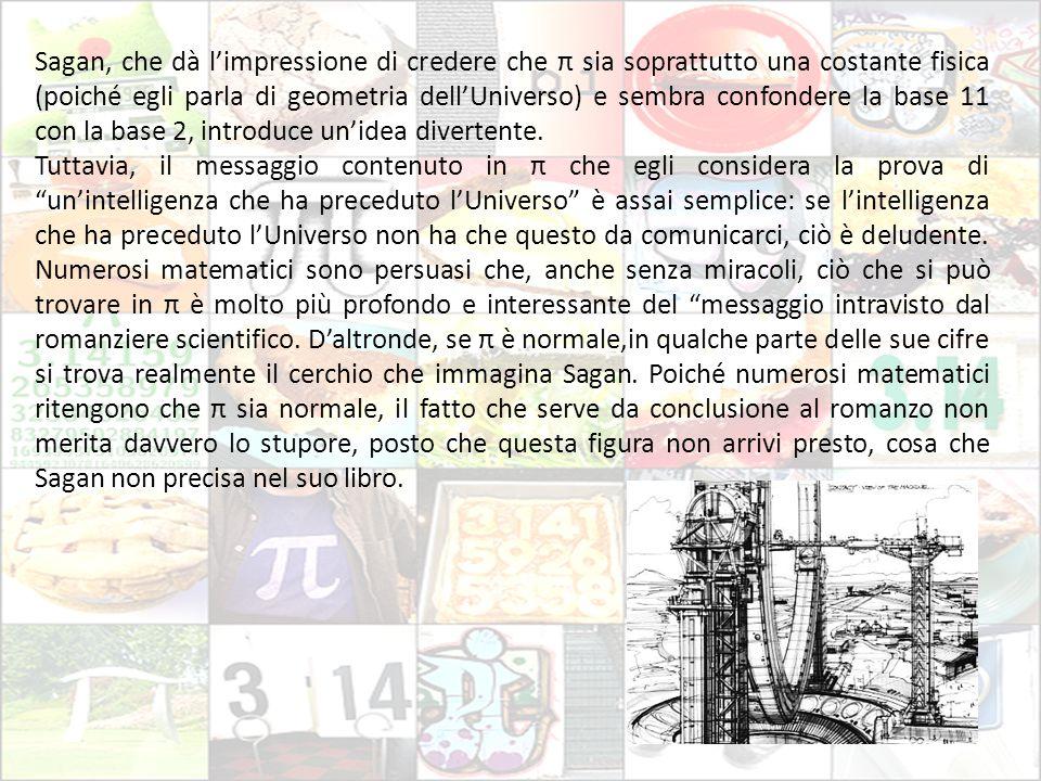 Sagan, che dà l'impressione di credere che π sia soprattutto una costante fisica (poiché egli parla di geometria dell'Universo) e sembra confondere la