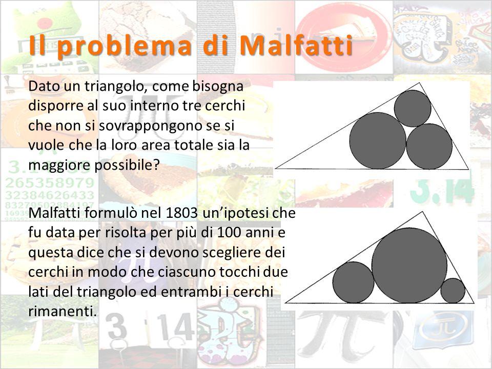 Il problema di Malfatti Dato un triangolo, come bisogna disporre al suo interno tre cerchi che non si sovrappongono se si vuole che la loro area total
