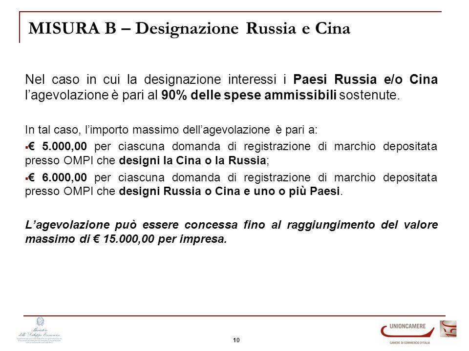 MISURA B – Designazione Russia e Cina Nel caso in cui la designazione interessi i Paesi Russia e/o Cina l'agevolazione è pari al 90% delle spese ammissibili sostenute.