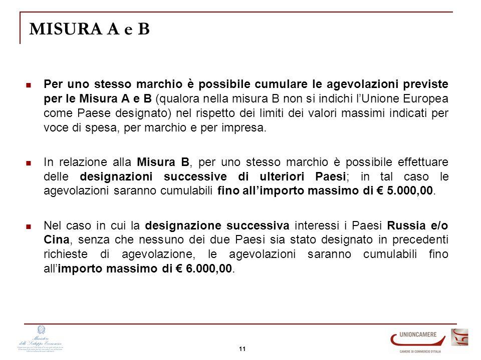 MISURA A e B Per uno stesso marchio è possibile cumulare le agevolazioni previste per le Misura A e B (qualora nella misura B non si indichi l'Unione Europea come Paese designato) nel rispetto dei limiti dei valori massimi indicati per voce di spesa, per marchio e per impresa.