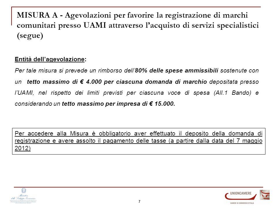 Entità dell'agevolazione: Per tale misura si prevede un rimborso dell'80% delle spese ammissibili sostenute con un tetto massimo di € 4.000 per ciascuna domanda di marchio depositata presso l'UAMI, nel rispetto dei limiti previsti per ciascuna voce di spesa (All.1 Bando) e considerando un tetto massimo per impresa di € 15.000.