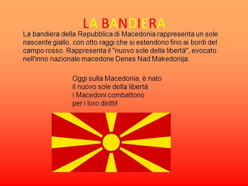 LA BANDIERA La bandiera della Repubblica di Macedonia rappresenta un sole nascente giallo, con otto raggi che si estendono fino ai bordi del campo ros