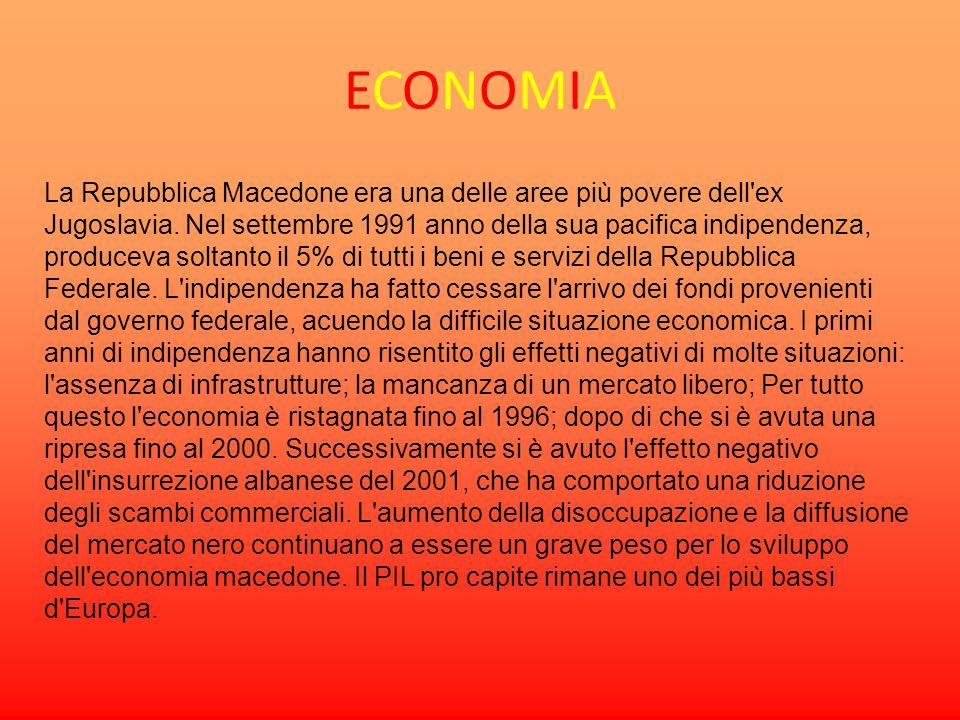 ECONOMIAECONOMIA La Repubblica Macedone era una delle aree più povere dell'ex Jugoslavia. Nel settembre 1991 anno della sua pacifica indipendenza, pro
