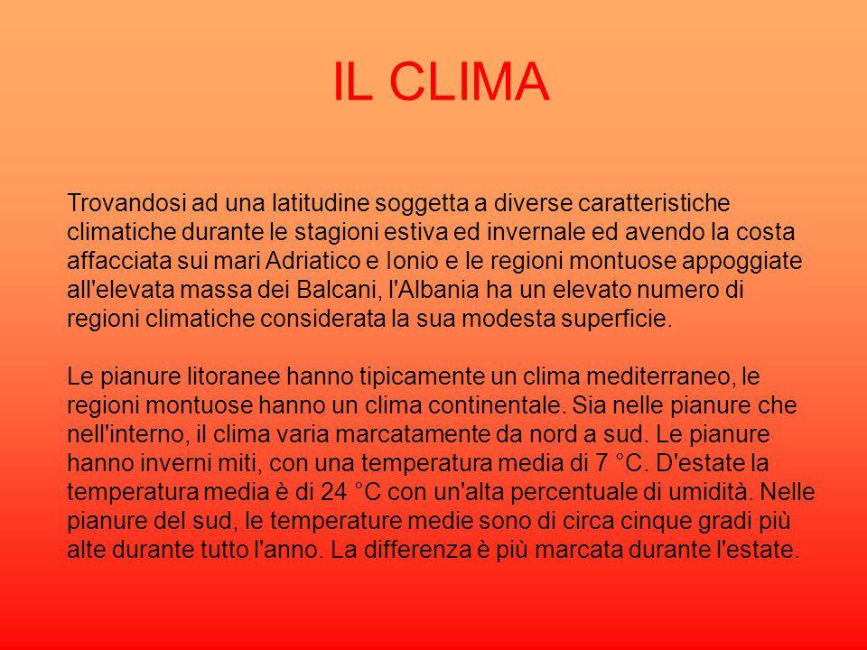 IL CLIMA Trovandosi ad una latitudine soggetta a diverse caratteristiche climatiche durante le stagioni estiva ed invernale ed avendo la costa affacci