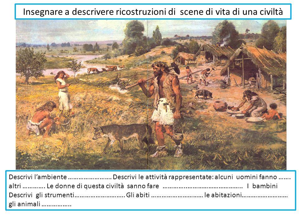 Descrivi l'ambiente …………………….Descrivi le attività rappresentate: alcuni uomini fanno …….