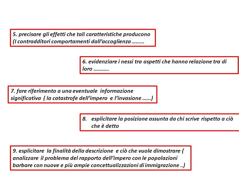 5. precisare gli effetti che tali caratteristiche producono (I contradditori comportamenti dall'accoglienza ……… 6. evidenziare i nessi tra aspetti che