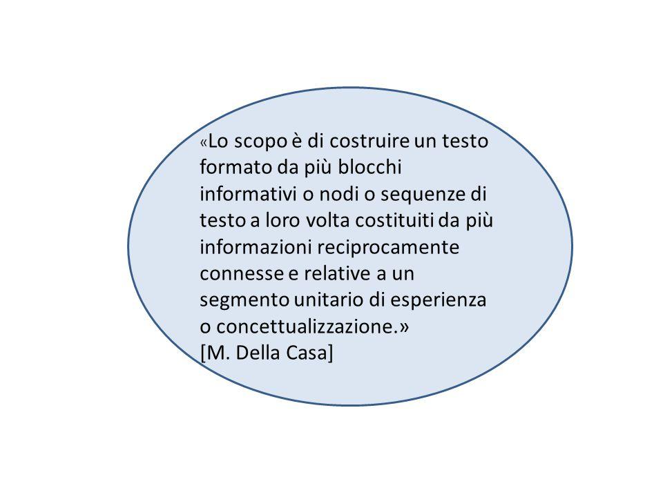 « Lo scopo è di costruire un testo formato da più blocchi informativi o nodi o sequenze di testo a loro volta costituiti da più informazioni reciprocamente connesse e relative a un segmento unitario di esperienza o concettualizzazione.» [M.
