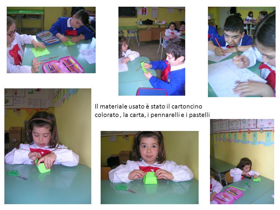 Il materiale usato è stato il cartoncino colorato, la carta, i pennarelli e i pastelli