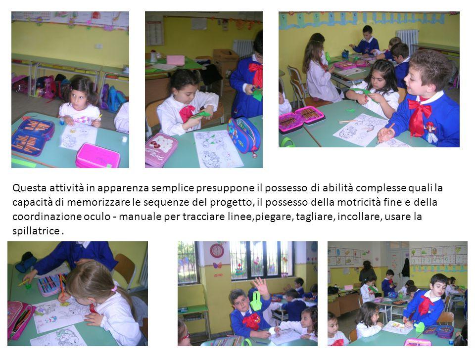 Questa attività in apparenza semplice presuppone il possesso di abilità complesse quali la capacità di memorizzare le sequenze del progetto, il posses
