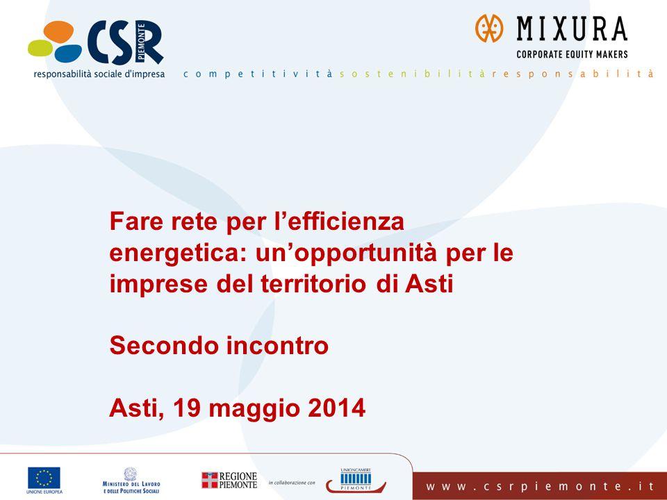 Fare rete per l'efficienza energetica: un'opportunità per le imprese del territorio di Asti Secondo incontro Asti, 19 maggio 2014