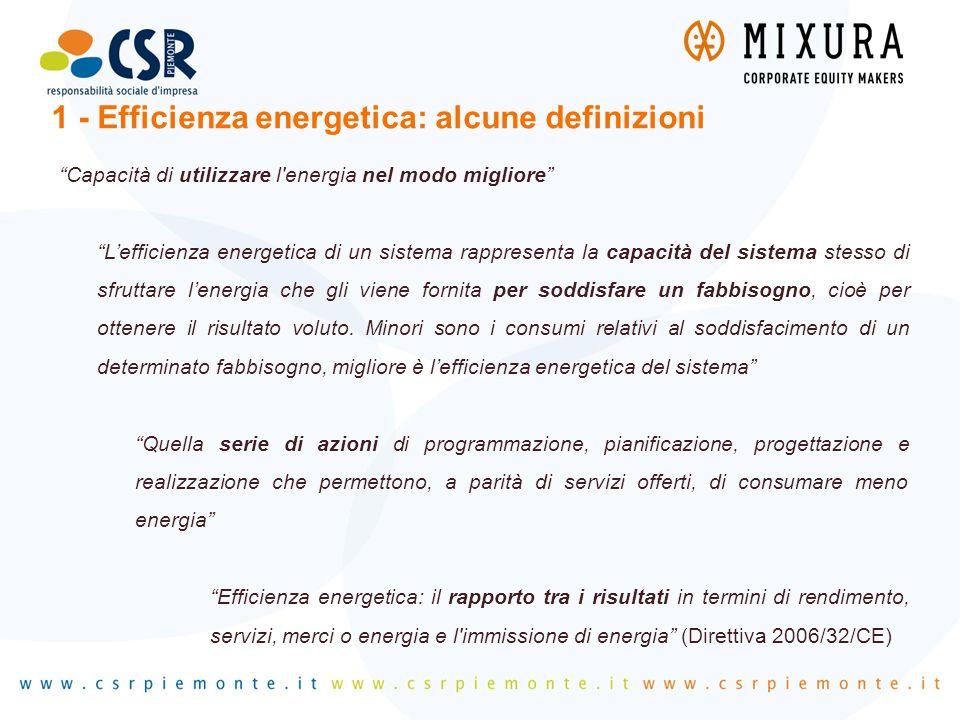 """""""Capacità di utilizzare l'energia nel modo migliore"""" """"L'efficienza energetica di un sistema rappresenta la capacità del sistema stesso di sfruttare l'"""