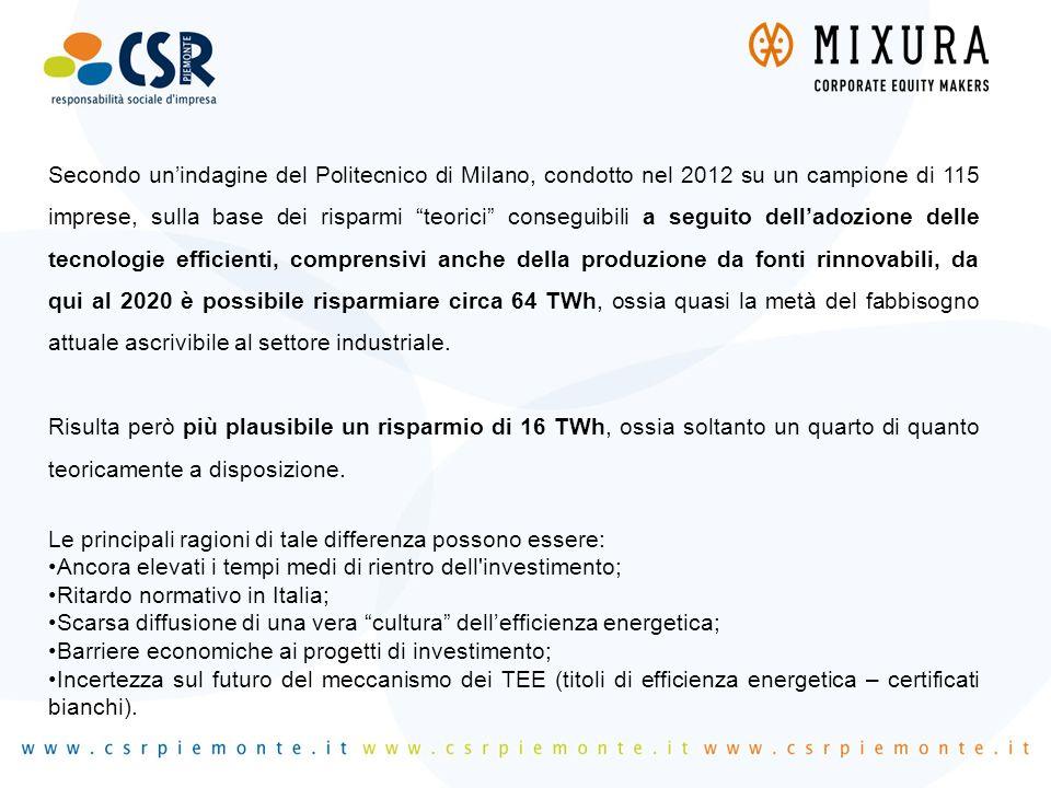 """Secondo un'indagine del Politecnico di Milano, condotto nel 2012 su un campione di 115 imprese, sulla base dei risparmi """"teorici"""" conseguibili a segui"""