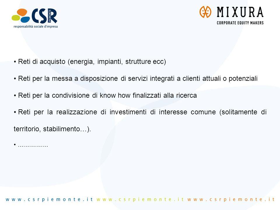 Reti di acquisto (energia, impianti, strutture ecc) Reti per la messa a disposizione di servizi integrati a clienti attuali o potenziali Reti per la c
