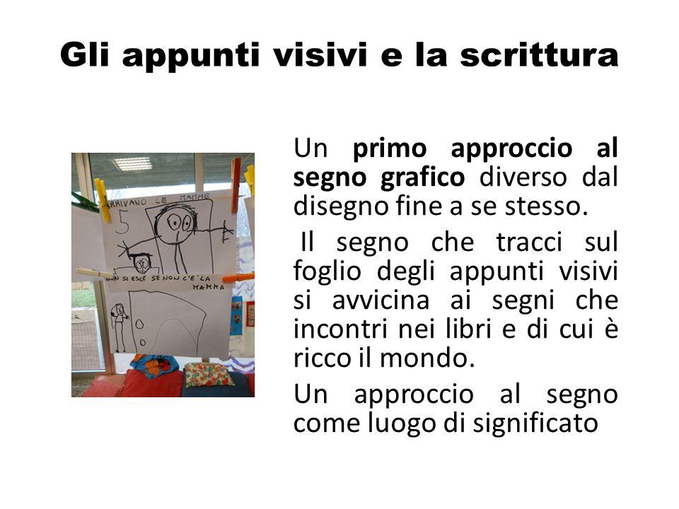 Gli appunti visivi e la scrittura Un primo approccio al segno grafico diverso dal disegno fine a se stesso. Il segno che tracci sul foglio degli appun