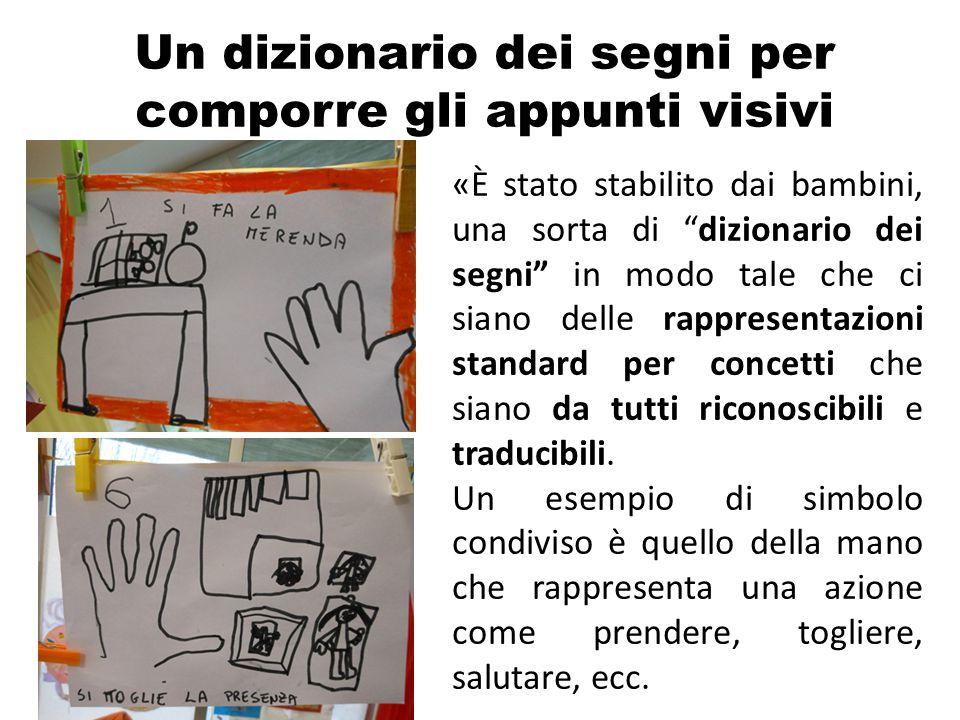 """Un dizionario dei segni per comporre gli appunti visivi «È stato stabilito dai bambini, una sorta di """"dizionario dei segni"""" in modo tale che ci siano"""