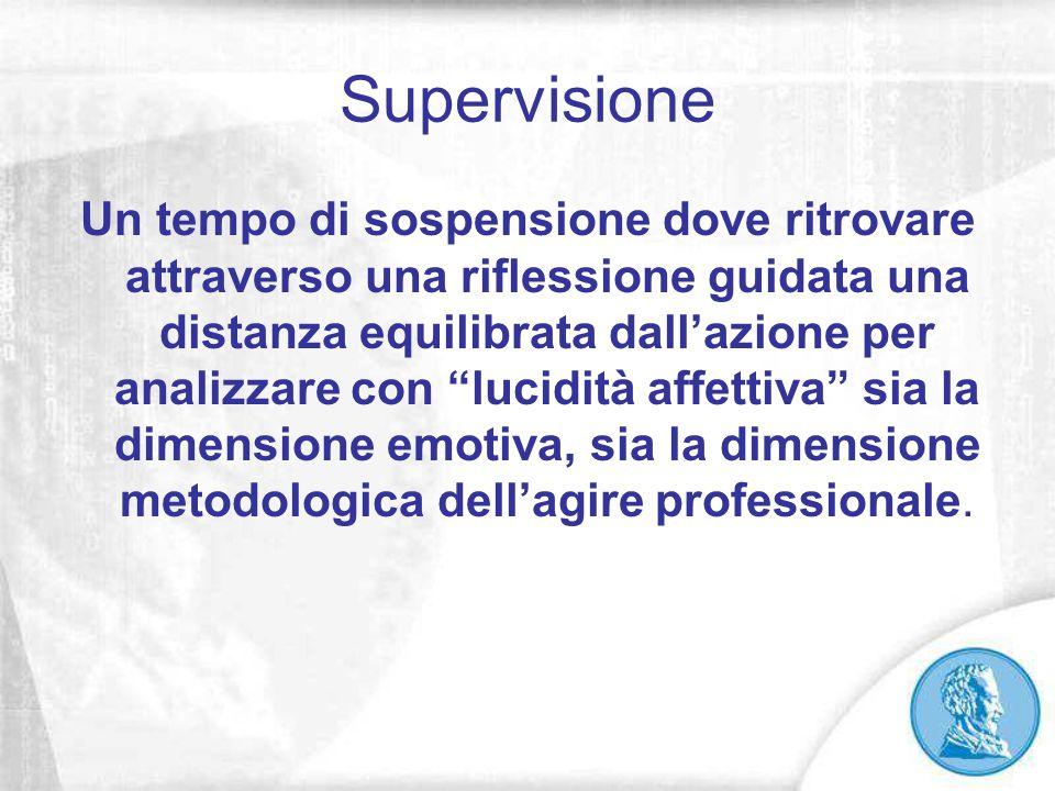 """Supervisione Un tempo di sospensione dove ritrovare attraverso una riflessione guidata una distanza equilibrata dall'azione per analizzare con """"lucidi"""
