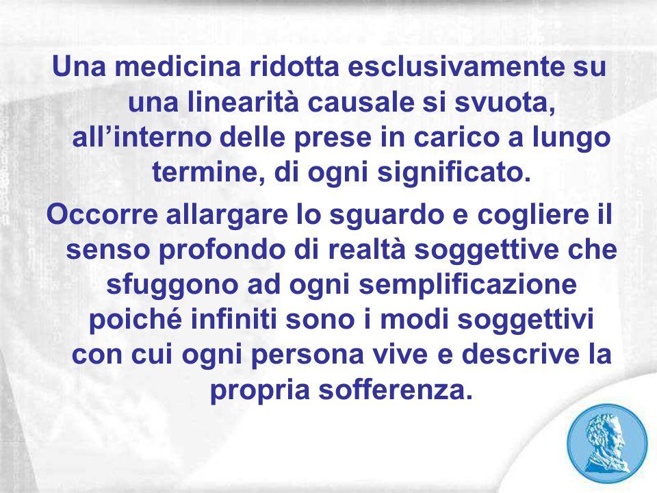 Una medicina ridotta esclusivamente su una linearità causale si svuota, all'interno delle prese in carico a lungo termine, di ogni significato. Occorr