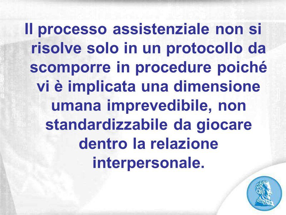 Il processo assistenziale non si risolve solo in un protocollo da scomporre in procedure poiché vi è implicata una dimensione umana imprevedibile, non
