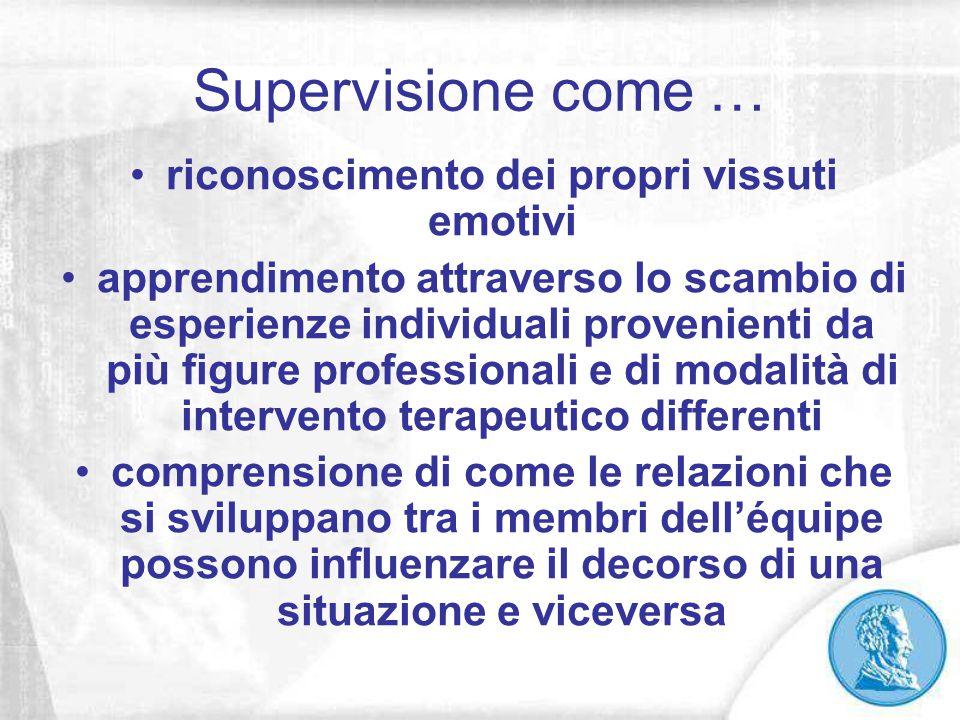 Supervisione come … riconoscimento dei propri vissuti emotivi apprendimento attraverso lo scambio di esperienze individuali provenienti da più figure