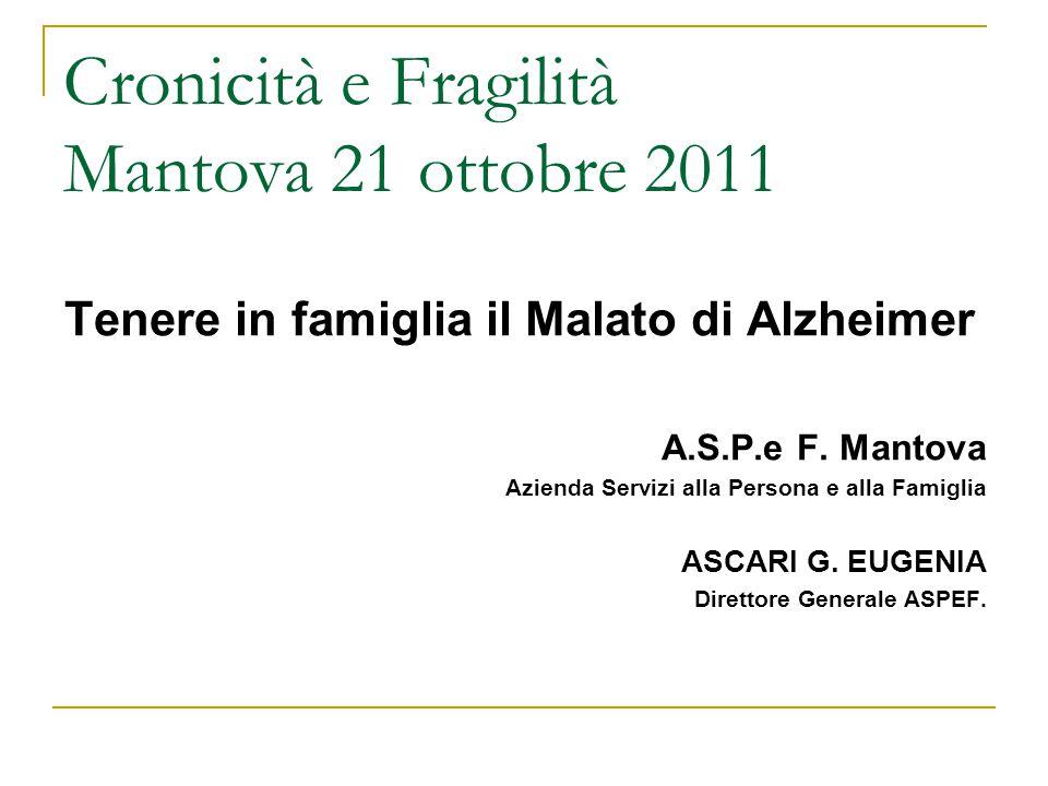 Cronicità e Fragilità Mantova 21 ottobre 2011 Tenere in famiglia il Malato di Alzheimer A.S.P.e F.