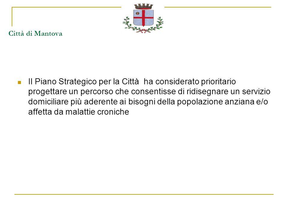 Città di Mantova Il Piano Strategico per la Città ha considerato prioritario progettare un percorso che consentisse di ridisegnare un servizio domiciliare più aderente ai bisogni della popolazione anziana e/o affetta da malattie croniche