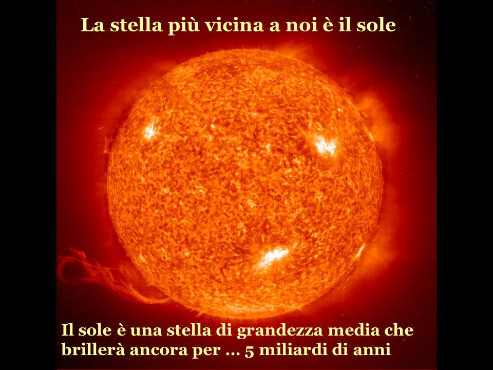 La stella più vicina a noi è il sole Il sole è una stella di grandezza media che brillerà ancora per … 5 miliardi di anni