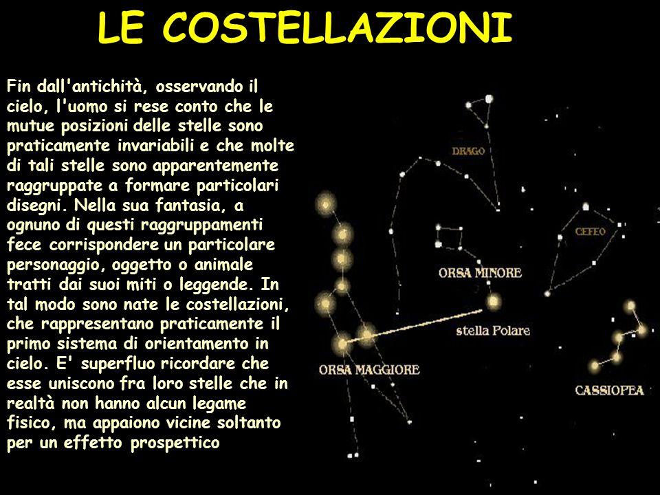 Fin dall antichità, osservando il cielo, l uomo si rese conto che le mutue posizioni delle stelle sono praticamente invariabili e che molte di tali stelle sono apparentemente raggruppate a formare particolari disegni.