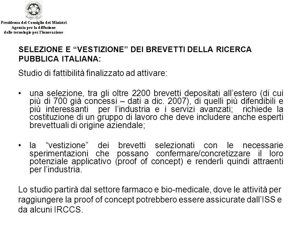 SELEZIONE E VESTIZIONE DEI BREVETTI DELLA RICERCA PUBBLICA ITALIANA: Studio di fattibilità finalizzato ad attivare: una selezione, tra gli oltre 2200 brevetti depositati all'estero (di cui più di 700 già concessi – dati a dic.