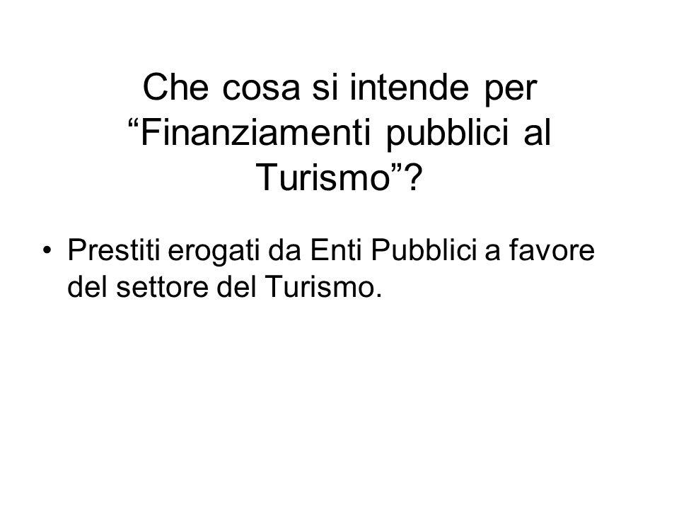 """Che cosa si intende per """"Finanziamenti pubblici al Turismo""""? Prestiti erogati da Enti Pubblici a favore del settore del Turismo."""