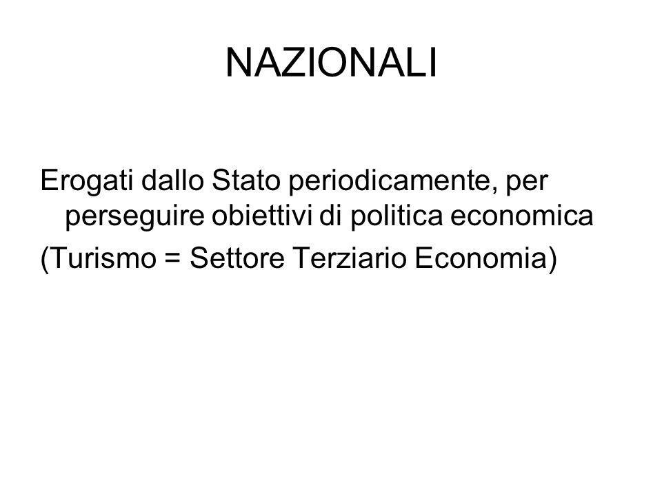 NAZIONALI Erogati dallo Stato periodicamente, per perseguire obiettivi di politica economica (Turismo = Settore Terziario Economia)