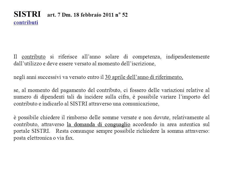 SISTRI art. 7 Dm. 18 febbraio 2011 n° 52 contributi Il contributo si riferisce all'anno solare di competenza, indipendentemente dall'utilizzo e deve e