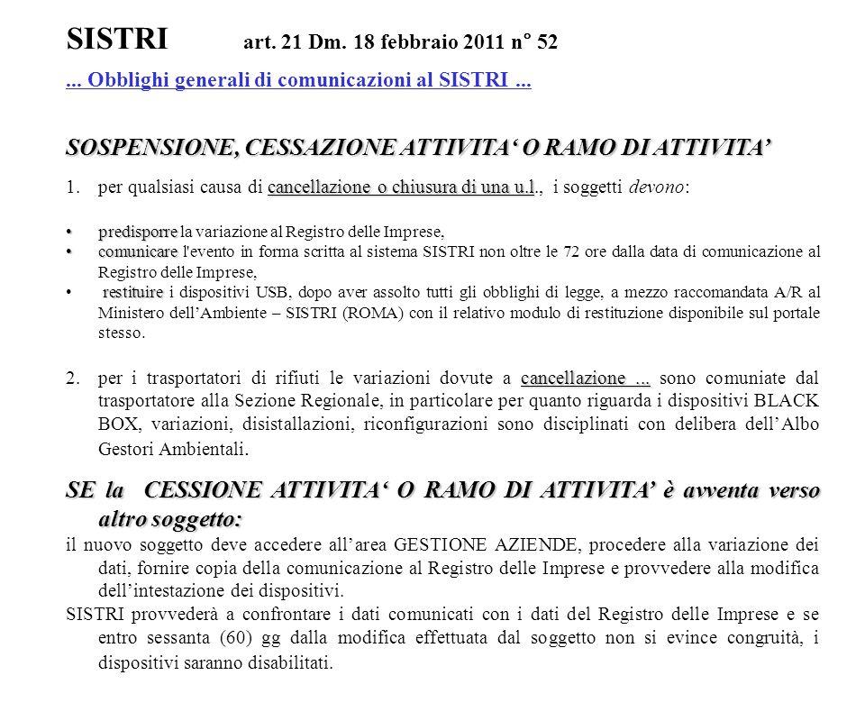 SISTRI art. 21 Dm. 18 febbraio 2011 n° 52... Obblighi generali di comunicazioni al SISTRI... SOSPENSIONE, CESSAZIONE ATTIVITA' O RAMO DI ATTIVITA' can