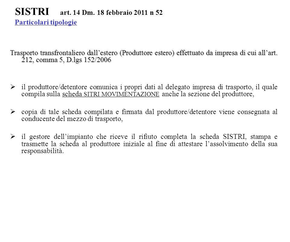 Trasporto transfrontaliero dall'estero (Produttore estero) effettuato da impresa di cui all'art. 212, comma 5, D.lgs 152/2006  il produttore/detentor
