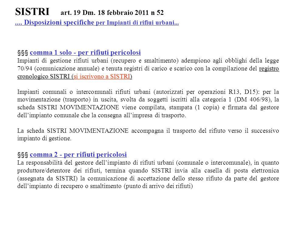 SISTRI art. 19 Dm. 18 febbraio 2011 n 52.... Disposizioni specifiche per Impianti di rifiui urbani... §§§ comma 1 solo - per rifiuti pericolosi regist