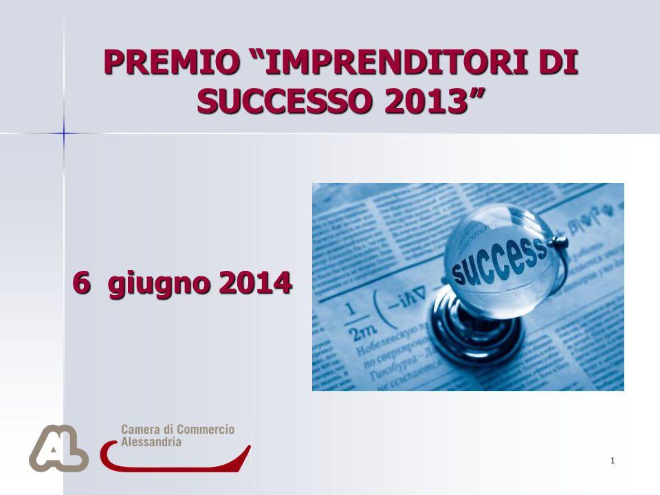 """1 PREMIO """"IMPRENDITORI DI SUCCESSO 2013"""" 6 giugno 2014 Per aggiungere alla diapositiva il logo della società: Scegliere Immagine dal menu Inserisci In"""