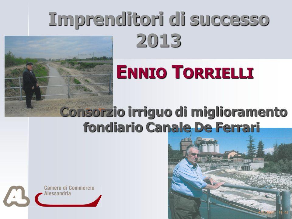 E NNIO T ORRIELLI Consorzio irriguo di miglioramento E NNIO T ORRIELLI Consorzio irriguo di miglioramento fondiario Canale De Ferrari Imprenditori di