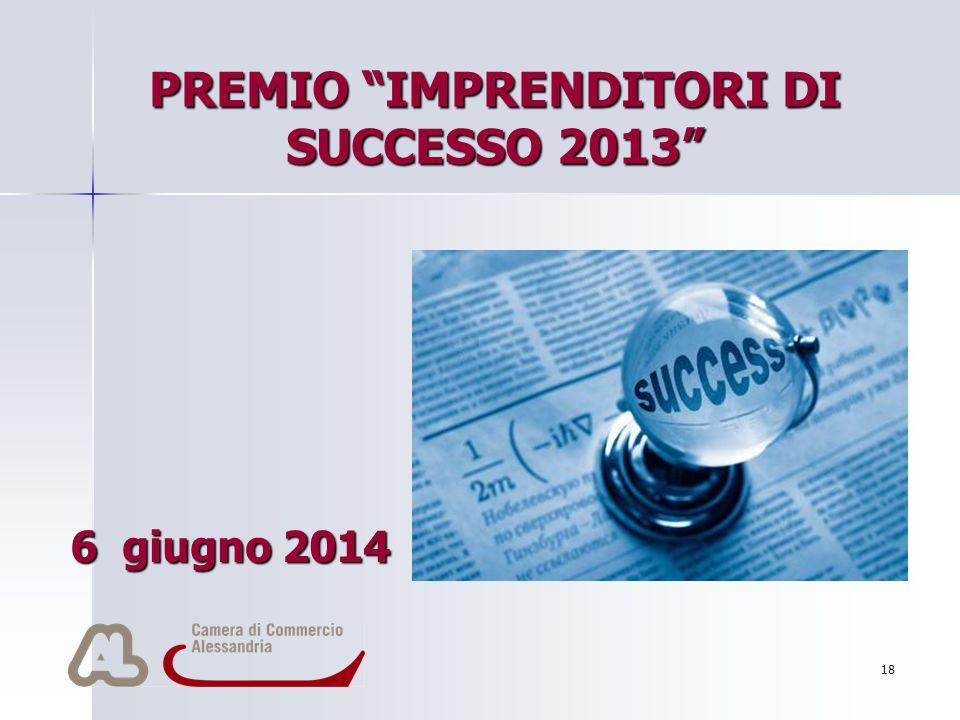 """18 PREMIO """"IMPRENDITORI DI SUCCESSO 2013"""" 6 giugno 2014 Per aggiungere alla diapositiva il logo della società: Scegliere Immagine dal menu Inserisci I"""