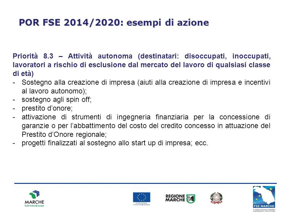 POR FSE 2014/2020: esempi di azione Priorità 8.3 – Attività autonoma (destinatari: disoccupati, inoccupati, lavoratori a rischio di esclusione dal mer