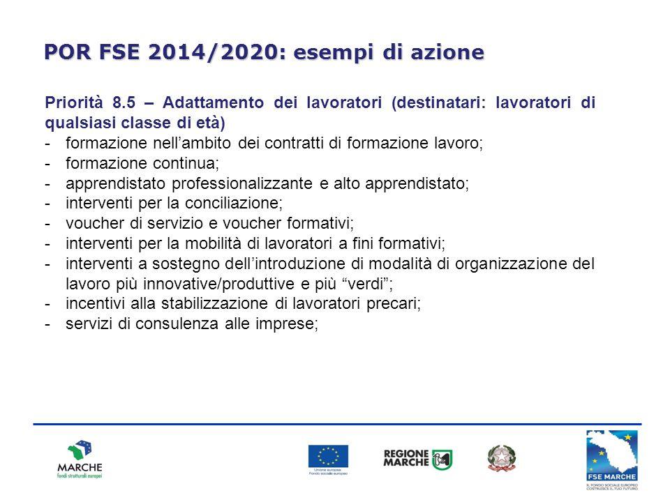 POR FSE 2014/2020: esempi di azione Priorità 8.5 – Adattamento dei lavoratori (destinatari: lavoratori di qualsiasi classe di età) -formazione nell'am