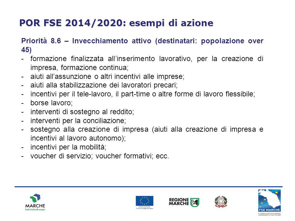 POR FSE 2014/2020: esempi di azione Priorità 8.6 – Invecchiamento attivo (destinatari: popolazione over 45) -formazione finalizzata all'inserimento la