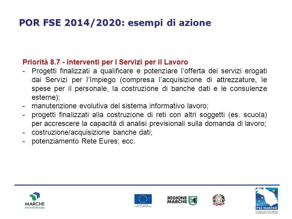 POR FSE 2014/2020: esempi di azione Priorità 8.7 - interventi per i Servizi per il Lavoro -Progetti finalizzati a qualificare e potenziare l'offerta d
