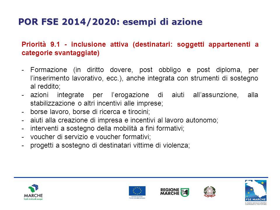 POR FSE 2014/2020: esempi di azione Priorità 9.1 - inclusione attiva (destinatari: soggetti appartenenti a categorie svantaggiate) -Formazione (in dir