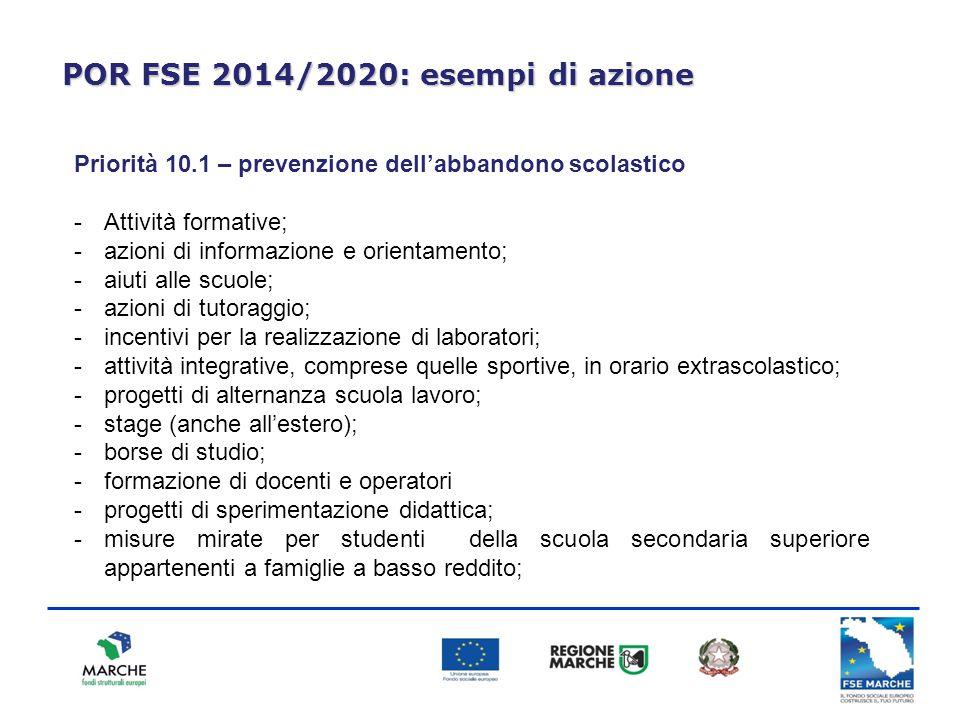 POR FSE 2014/2020: esempi di azione Priorità 10.1 – prevenzione dell'abbandono scolastico -Attività formative; -azioni di informazione e orientamento;