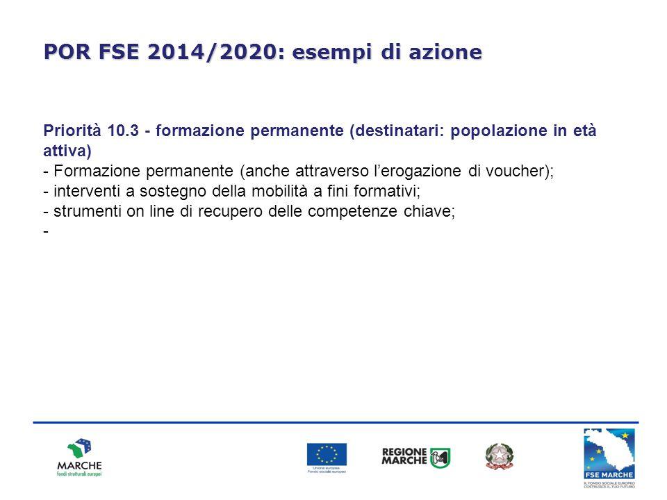 POR FSE 2014/2020: esempi di azione Priorità 10.3 - formazione permanente (destinatari: popolazione in età attiva) - Formazione permanente (anche attr
